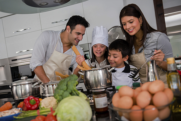 Beautiful family cooking together
